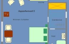 Der Grundriss von Appartement 2