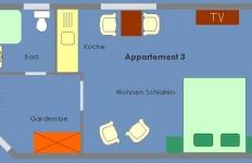 Grundriss von Appartement 3