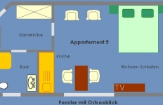 Der Grundriss von Appartement 5